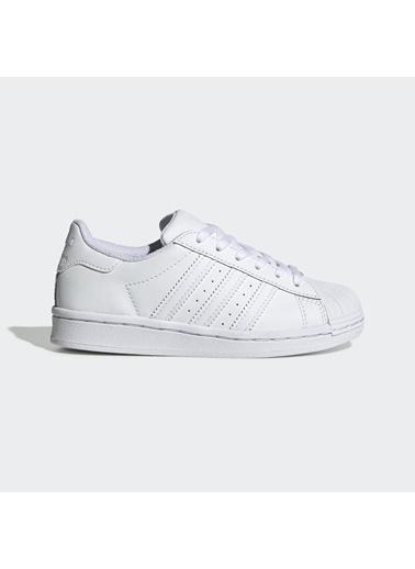 adidas Unisex Çocuk Superstar C Spor Ayakkabı EF5395 Beyaz